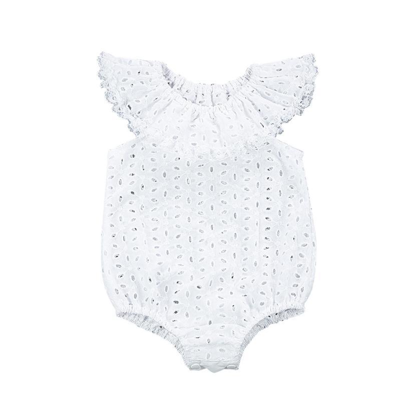 2017 летняя одежда для маленьких девочек новорожденных для маленьких девочек s листьев лотоса однотонные белые боди комбинезон одежда в заго...