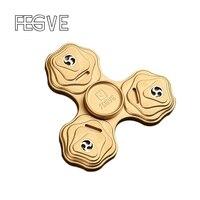 2017 New FEGVE Fidget Spinner Hand Spinner Finger Tri Spinner Metal Copper EDC Fidget Toy Stress