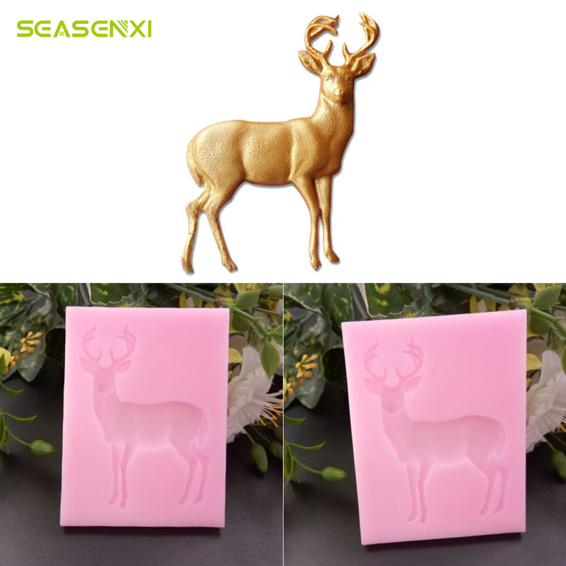 SEASENXI Deer Pattern DIY Tree leaf Press Molding Foil Mold Silicone Mold Cake Decor Fondant Cake 3D Silicone Mould kitchen