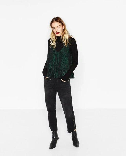 Nova Moda Vintage Ruffles Lantejoula Veludo Balanço Vest Camis Sexy Olhar Feminino Tops Camis Cinta Camisa Verde Mulheres Sling M8319