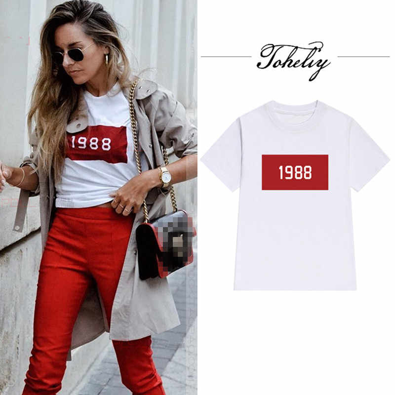 NEW Women's Bts Tops Europe and American street Creative number Print Yellow loose short-sleeve female t-shirt casual summer