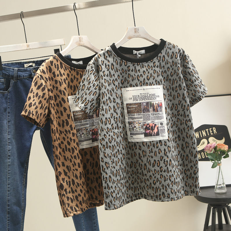 2019 Summer New Round Neck Large Size Women's Short-sleeved Leopard T-shirt Top x626