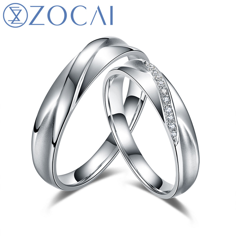 ZOCAI The Moment 0.04 Ct Certified Diamond Wedding Bands Ring 18K White Gold (Au750) His and Hers Diamond Ring Q00153AB hot sale couples wedding bands lock and key love solid 18k white gold diamond engagement ring wu141