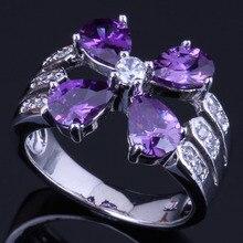 Romantic Flower Purple Cubic Zirconia White CZ 925 Sterling Silver Ring For Women V0430