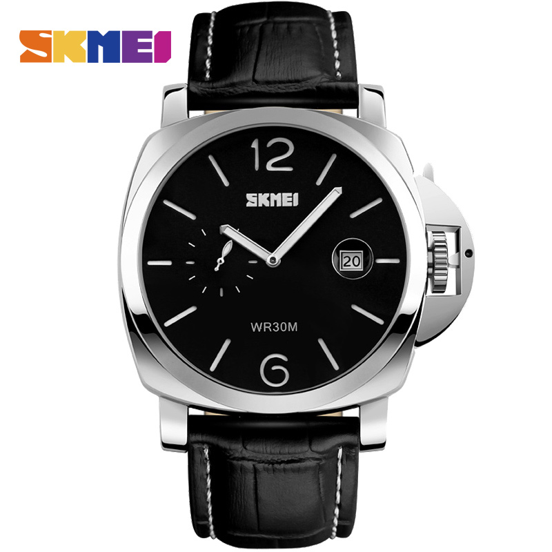 SKMEI Men Fashion Casual Big Dial Quartz Wristwatches Stainless Steel Luxury Watch Water Resistant Male Sports Watches 1124 oulm men dual movt big dial japan luxury military watches men stainless steel strap wristwatches male golden clock