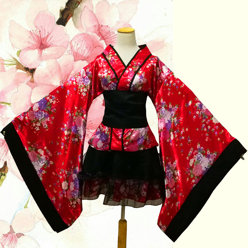 Lovely Print Girl Dress Gown Vintage Japanese Female Kimono Yukata Anime Cosplay Costume Elegant Stage Performance Clothes Complete Range Of Articles Traditional & Cultural Wear