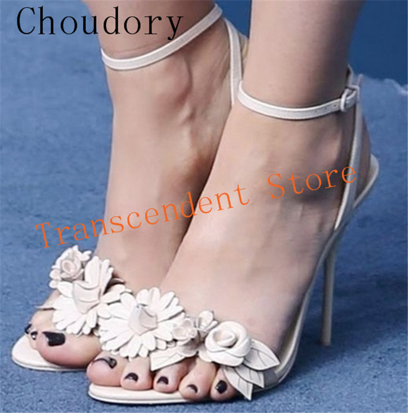 Choudory Buckle Strap Sweet High Heel Women Sandals Fashion Flower Summer Women Party Dress Shoes Genuine Leather Women Sandals