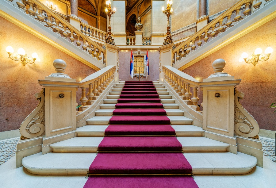 Laeacco Retro Palace Stairs Red Carpet Photo Backgrounds Customized Photography Backdrops For Photo Studio
