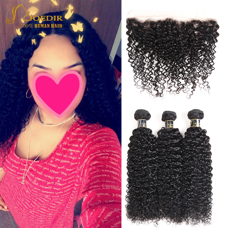 Joedir Hair Kinky Curly 3 Bundles With Frontal Brazilian Hair Weave Bundles With Closure ...