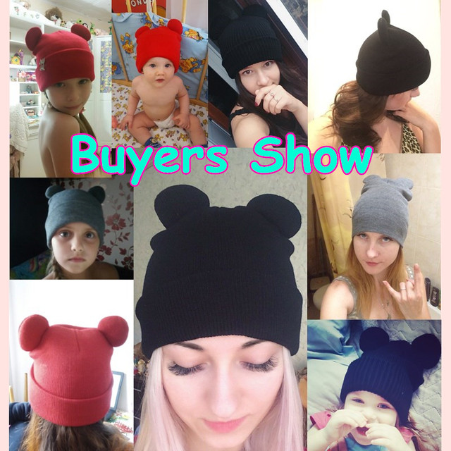 300pcs Female Winter Caps Hats Women Devil Horns Cat Ear Cute Crochet Braided Knitting Wool Beanies Hat Girls Children Warm Cap 1