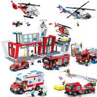Gudi City Fire Sets Station Series Ladder Truck Building Blocks Classic Bricks Model Kids Toys For Children Compatible Boy Gifts