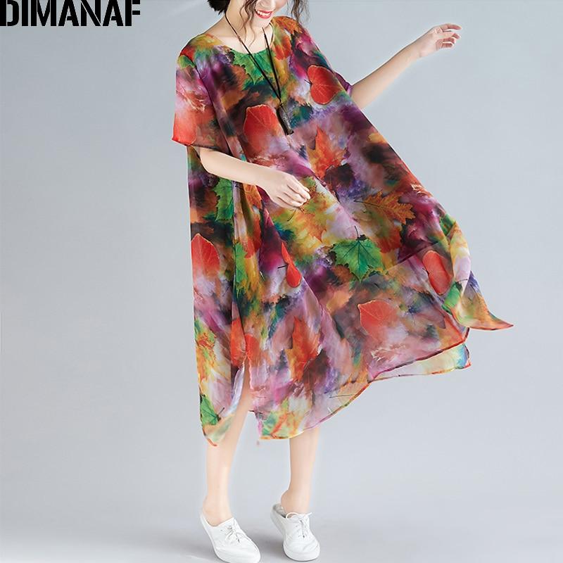 c7ac7ed3649 DIMANAF Plus Größe Frauen Strand Kleid Sommer Sommerkleid Chiffon Elegante  Dame Vestidos Druck Kleid Lose Beiläufige Weibliche Kleidung 2019