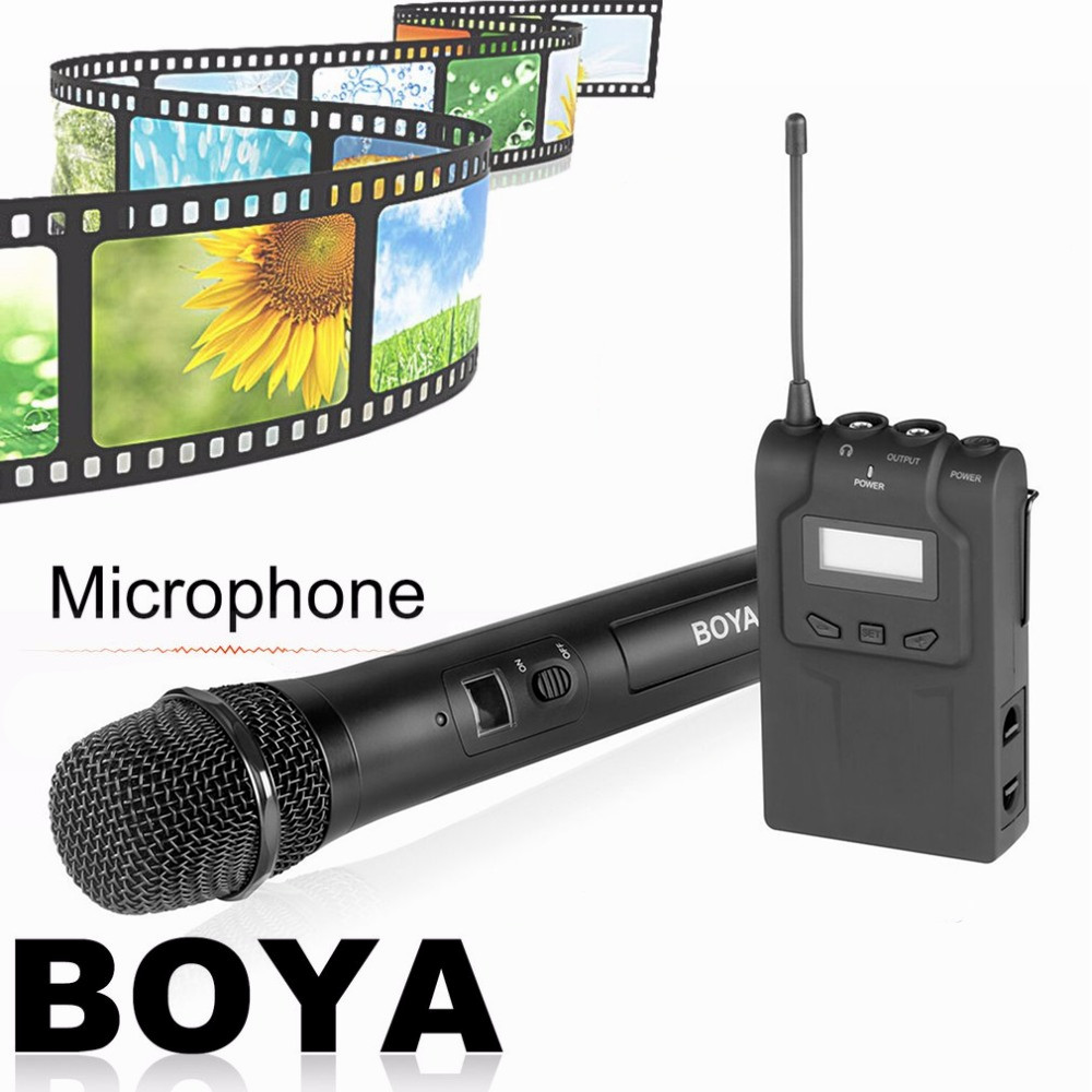 BOYA BY-WHM8 Professional 48 UHF Microphone Dual Channels Wireless Handheld Mic System LCD Display for Karaoke Party Liveshow