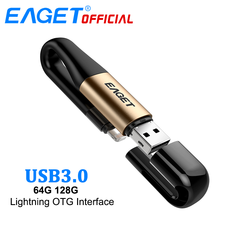 цена на EAGET USB 3.0 USB Flash Drive 64G 2 In 1 MFI Certified 128G OTG Pen Drive Charge Pendrive Memory Stick For Lightning For iPhone