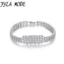 Fyla Mode Wedding Bracelets&Bangles High Quality Silver Color AAA Zircon Bridal Bracelet Bangle For Women