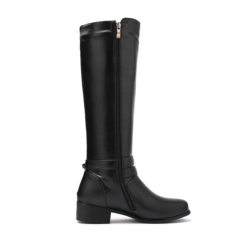 Épaisse Femelle 2018 De Équitation Kcenid Mode D'hiver Talon Genou marron Chaussures Chaud Femmes Fourrure Femme Noir Haute Bottes Sangle Med Boucle OkTiXZuP