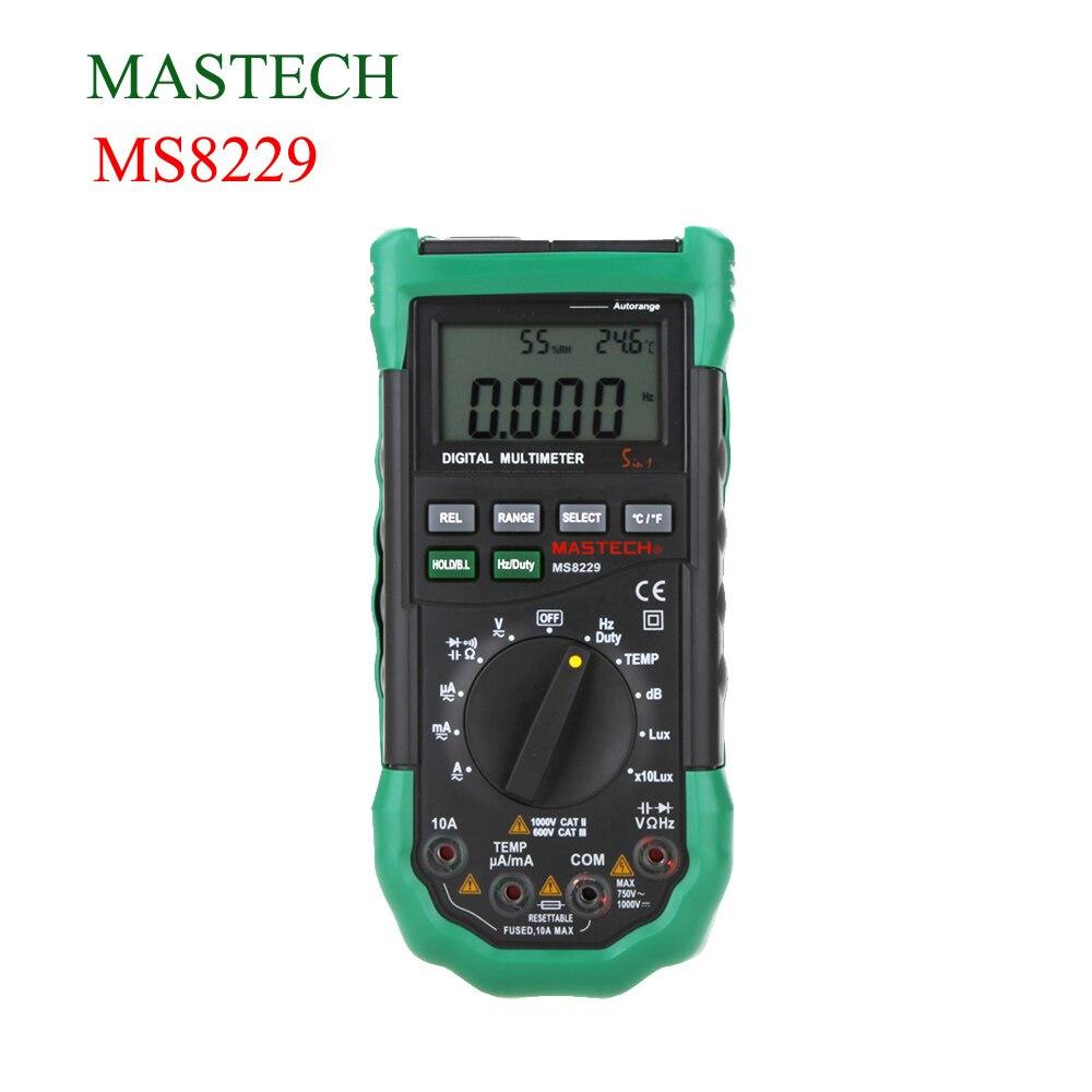 Mastech MS8229 5 in 1 Digital Multimeter Noise Illumination Temperature Humidity Tester Diagnostic-tool Auto Range LCD Backlight peakmeter ms8229 auto range 5 in 1 multifunctional handheld 2 8 auto digital multimeter