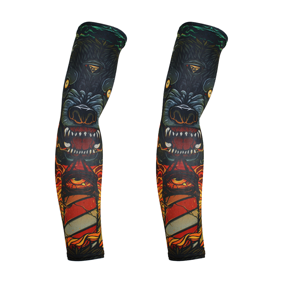 BJMOTO Motorcycle Cycling Sleeves Printed Armwarmer MTB Bike Bicycle Sleeves Arm Warmer UV Protection Sleeves Ridding Arm Sleeve