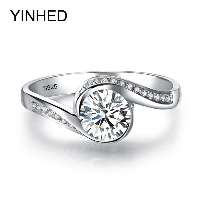 YINHED Bague Solitaire Élégant Véritable 925 En Argent Sterling Anneaux De Mariage pour les Femmes 6mm 1 Carat CZ Diamant Bague de Fiançailles ZR326