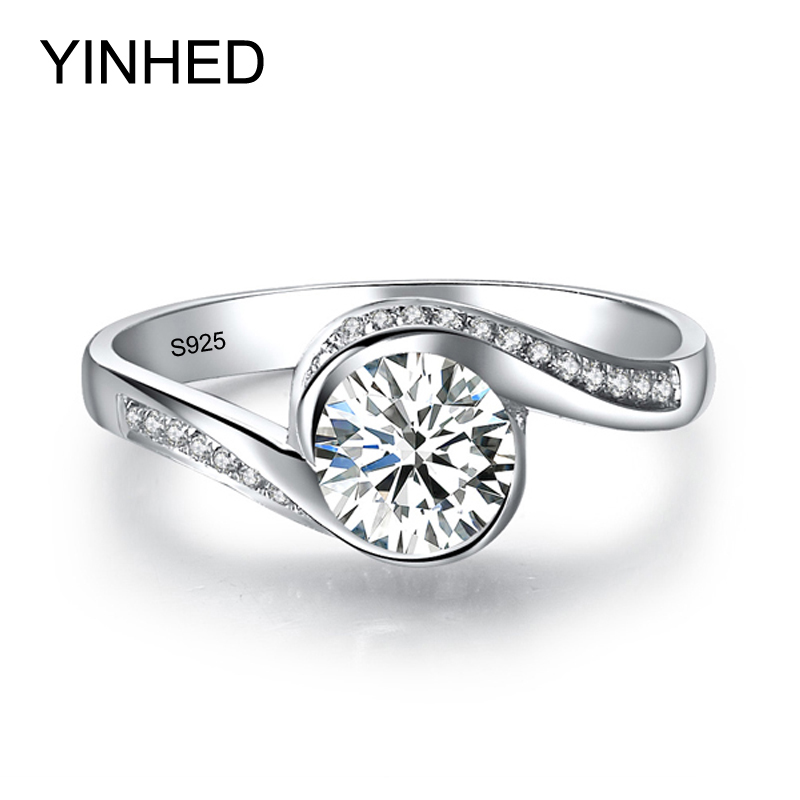 YINHED Elegant Solitaire Ring Genuine 925 Sterling Silver Wedding Rings for Women 6mm 1 Carat CZ Diamant Engagement Ring ZR326