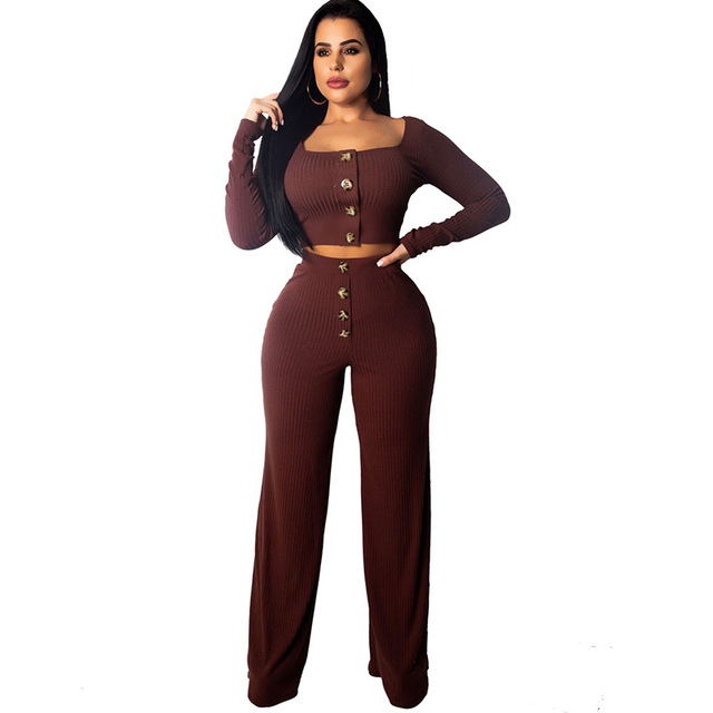 d864b8dcd2f Sexy Ribbed Two Piece Sweat Suits Women Square Collar Long Sleeve Knit Crop  Top and Wide Leg Pants Set Casual 2 Piece Outfits