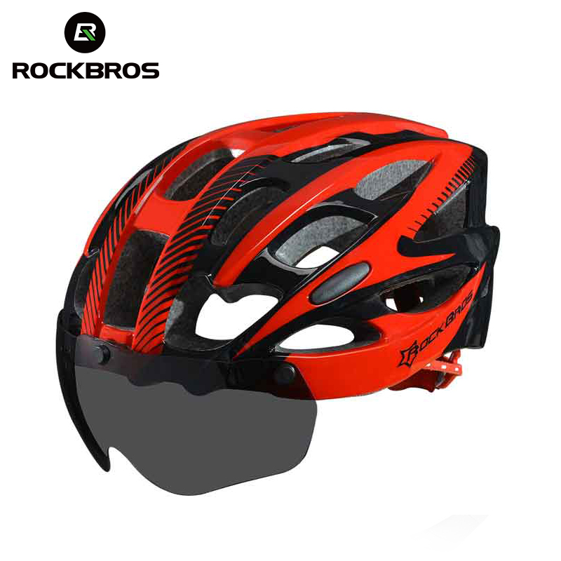 ROCKBROS Bicycle EPS Helmet With Lenses Integrally-molded 28 air vents Cycling <font><b>Bike</b></font> <font><b>Equipment</b></font> Helmet Casco Ciclismo Free Size image