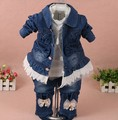 new 2017 spring girls lace flower denim jacket+t shirt+jeans clothing sets 3pcs kids clothes sets girls casual denim suit