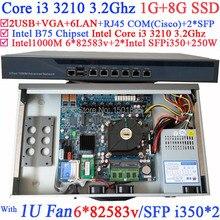 Intel Core i3 3210 3.2 Ггц 1U Брандмауэр Маршрутизатор с 6*82583 2 * Intel I350 SFP Gigabit LAN ROS Wayos