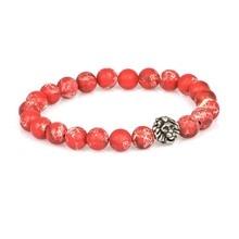 Бренд браслет atolyestone античное серебро льва головы и 8 мм красные яшмовые бусины бисером Leo браслеты для женщин мужчин Ювелирные изделия Подарки