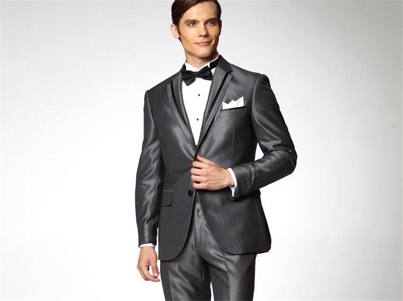 De Mens Meilleur Ceinture Gris Revers Pantalon Made Costumes Brillant  Garçons Costume D honneur Mariage Hommes ... 85d843d2109