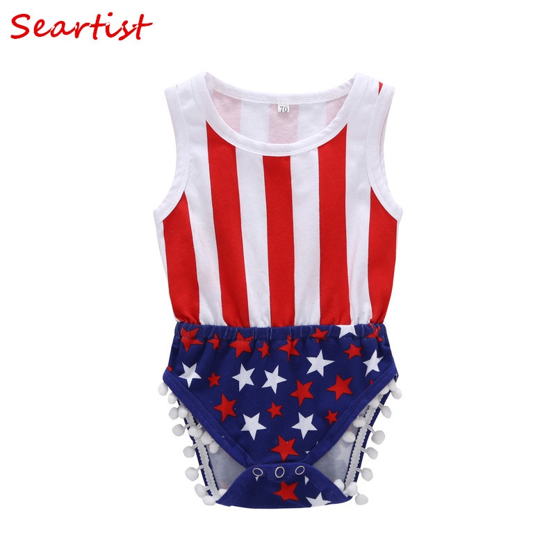 Seartist July 4th Bodysuit Baby Boys Girls Summer Jumpsuit for 4th July Bebes Kids Baby Boy Girl Clothes 2018 New Arrival 30C