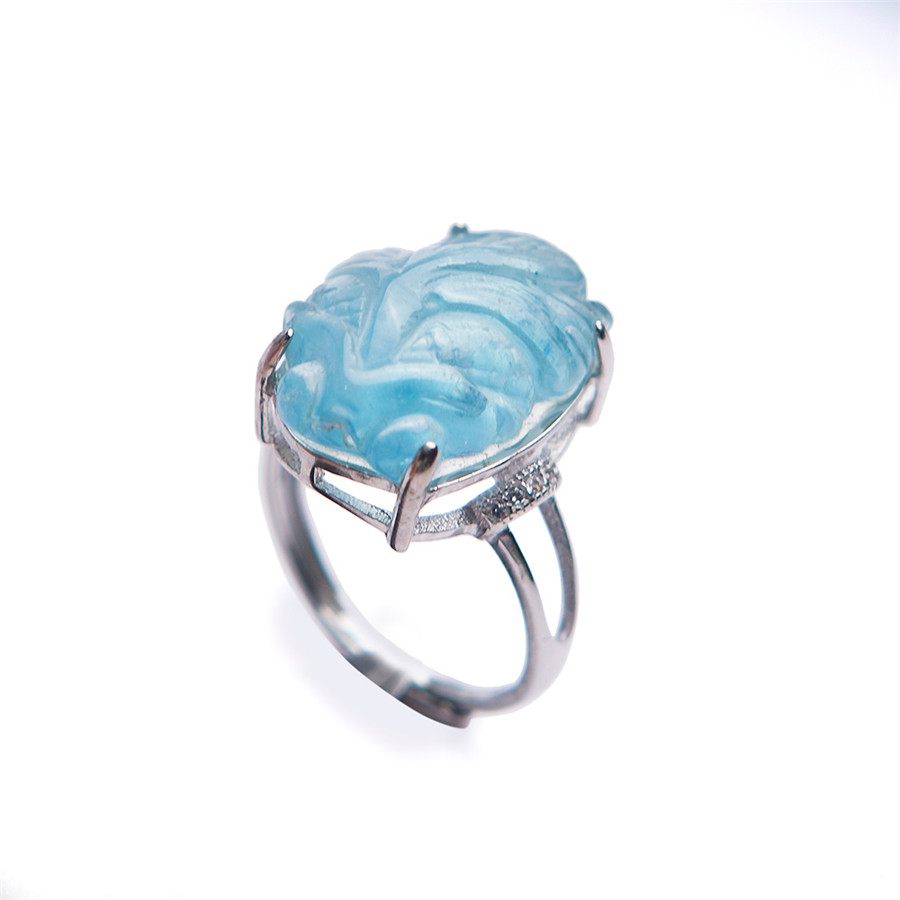 2018 Newly Natural Adjustable Blue Ocean Crystal Ring Drop Shipping Adjustable Size Crystal Ring Popular 925 Sterling Silver