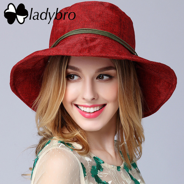 Ladybro Brand Summer Large Brim Beach Hat Wooden Beads Ladies Hat For Female Bucket Hat For Women Headwear Holiday Travel Cap