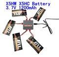Syma x5hc x5hw bateria 3.7 V 1200 mah Bateria com atualização 5in1 cabo do carregador para syma x5hw x5hc rc drone Quadcopter Peças conjunto