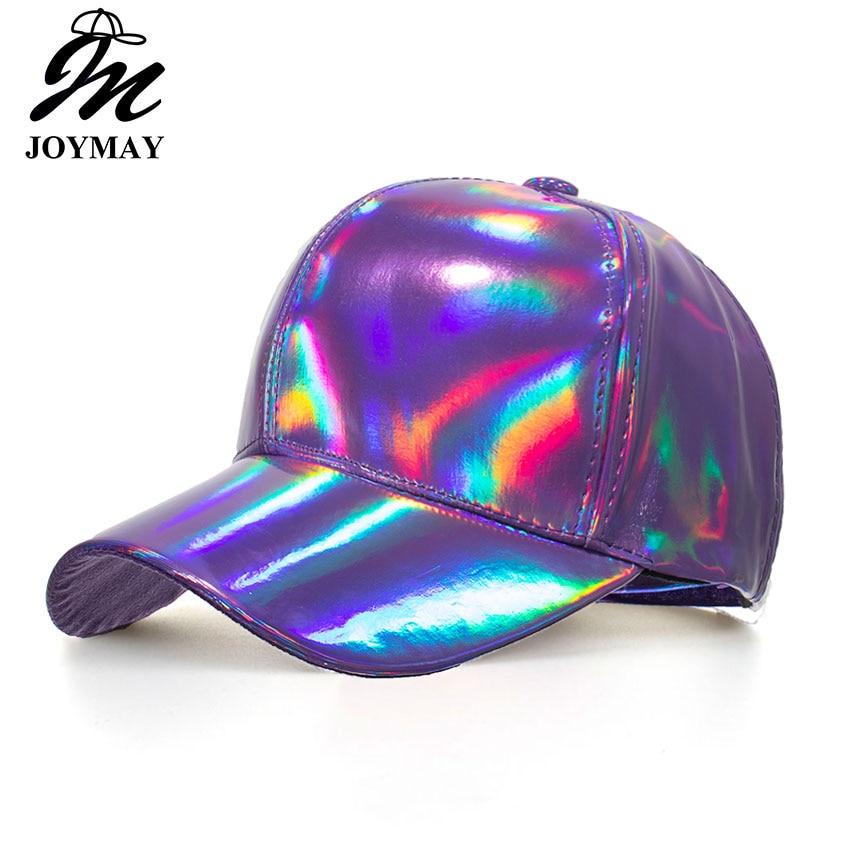 Joymay New arrival Shining PU Solid color Laser Baseball Cap Unisex Super cool Snapback Hats Casual Adjustable Caps B556