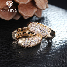 Fashion cc earrings for women zirconia clip earring rose gold filled with austrian crystal boucle d'oreille jewelry E022