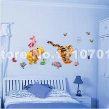 Animal cartoon Winnie Pooh vinyl wall stickers for kids rooms boys girl home decor wall decals home decoration wallpaper kids