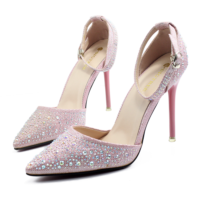 plardin 2017 women Crystal Ankle Strap Bling Metal Decoration shoes woman pointed toe Thin Heels women's Buckle pumps high heels amourplato womens handmade pointed toe ankle wrap flats bridesmaid ballerinas ankle strap flats shoes with buckle size5 13