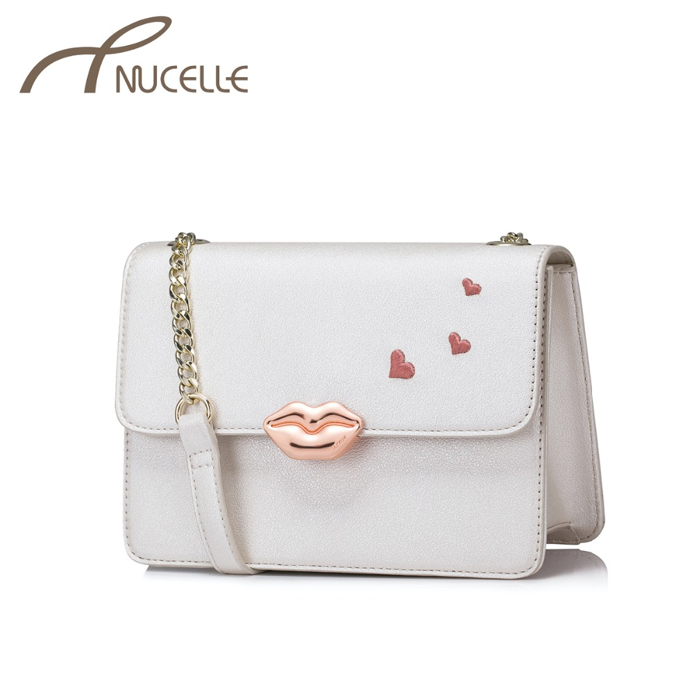 NUCELLE Women's PU Leather Messenger Bag Ladies Fashion Elegant Love Shoulder Bags Female Chains Flap Crossbody Purse NZ4048  fashion design bee metal pearl pu leather chain ladies shoulder bag handbag flap purse female crossbody messenger bag 5 colors