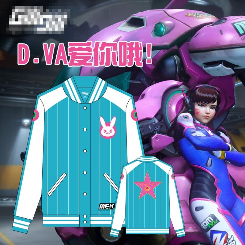 D.VA OW Green Baseball Jacket Cosplay Costume Free Shipping