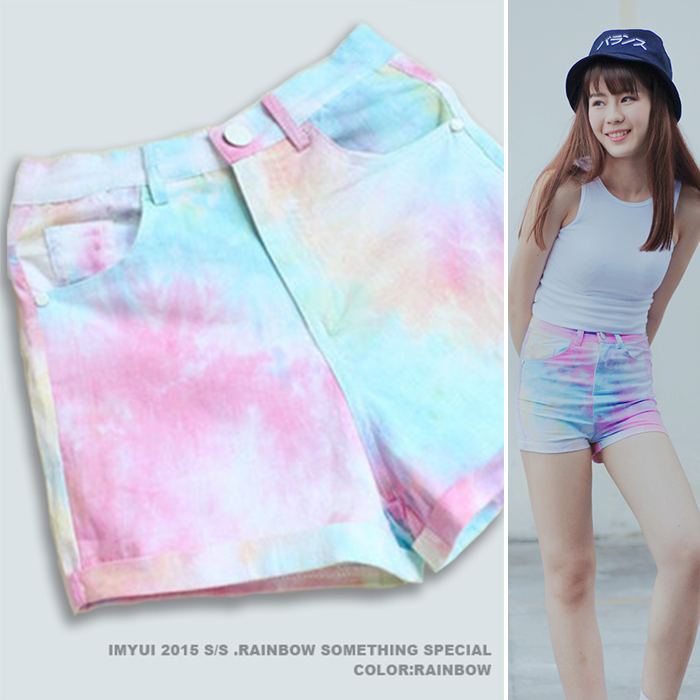Asian Korean Style   Shorts   Women Harajuku Mid Waist 2017 Ladies   Shorts   Star Rainbow Color Gradients Colorful Sexy   Shorts   Girl
