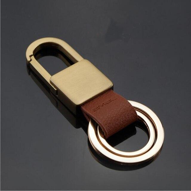 Luxury Car Keychains Golden Silver Keyring Pu Zinc Alloy Car Key