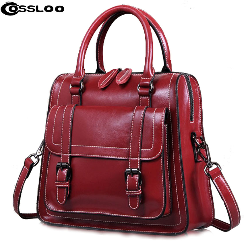 COSSLOO Women shoulder bags genuine leather handbag 2018 Women Shoulder Bags Women's Handbags Cowhide Genuine Leather Bag bolsa cossloo women shoulder bags genuine leather handbag cowhide messenger bag for women leather bags ladies tote sacthel purse bolsa