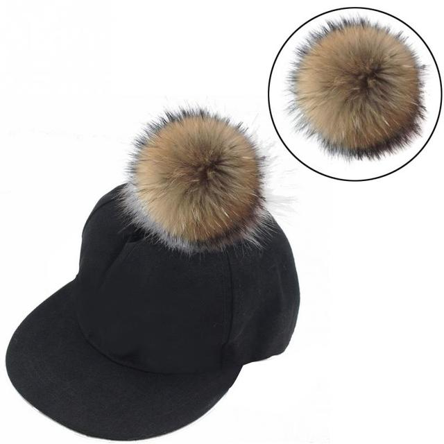 For Fashion Women Faux Raccoon Hair Ball Hat Accessories with Removable  Press Button Fake Fur Hat db75f7d688db