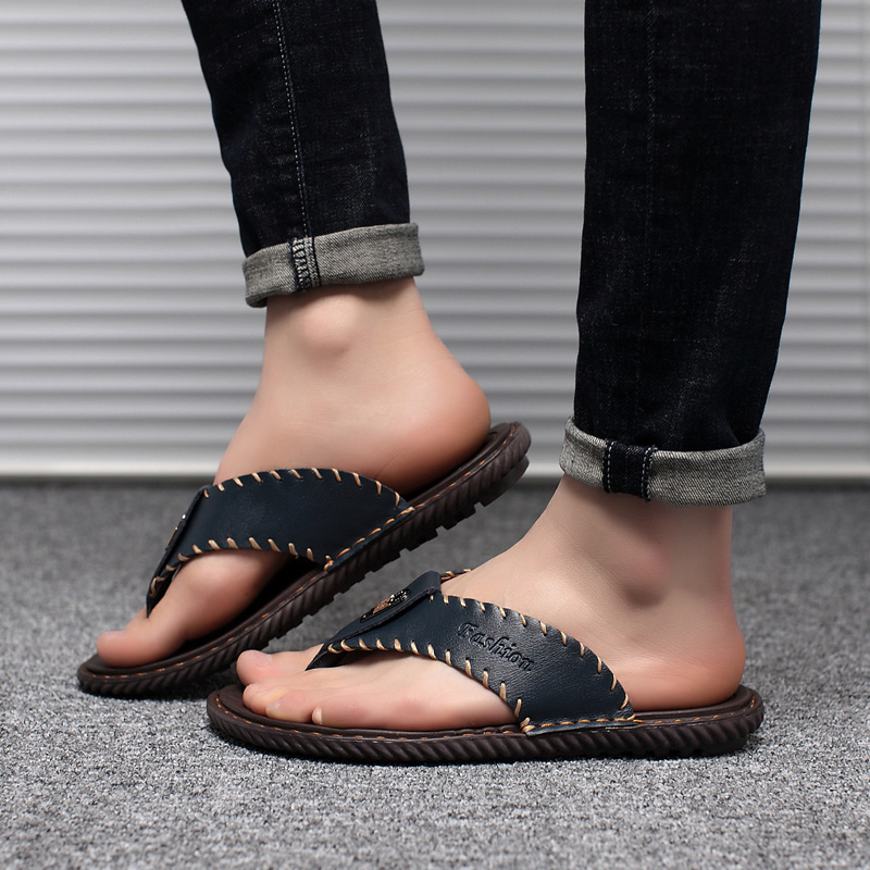 Image 5 - JUNJARM Luxury Brand 2019 New Mens Flip Flops Genuine Leather Men Slippers Summer Fashion Beach Sandals Shoes For Menshoes brandshoes fashionshoes for -