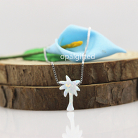 1pc Hot 8 13 2mm Op17 White Opal Coconut Tree Pendant Jewelry With 925 Silver Opal