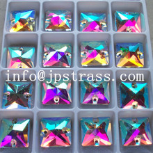 square shape sew on ab crystal 16 *16 mm glass stone ;fancy glass beads shiny sew on china wholesale price ;sew on stone
