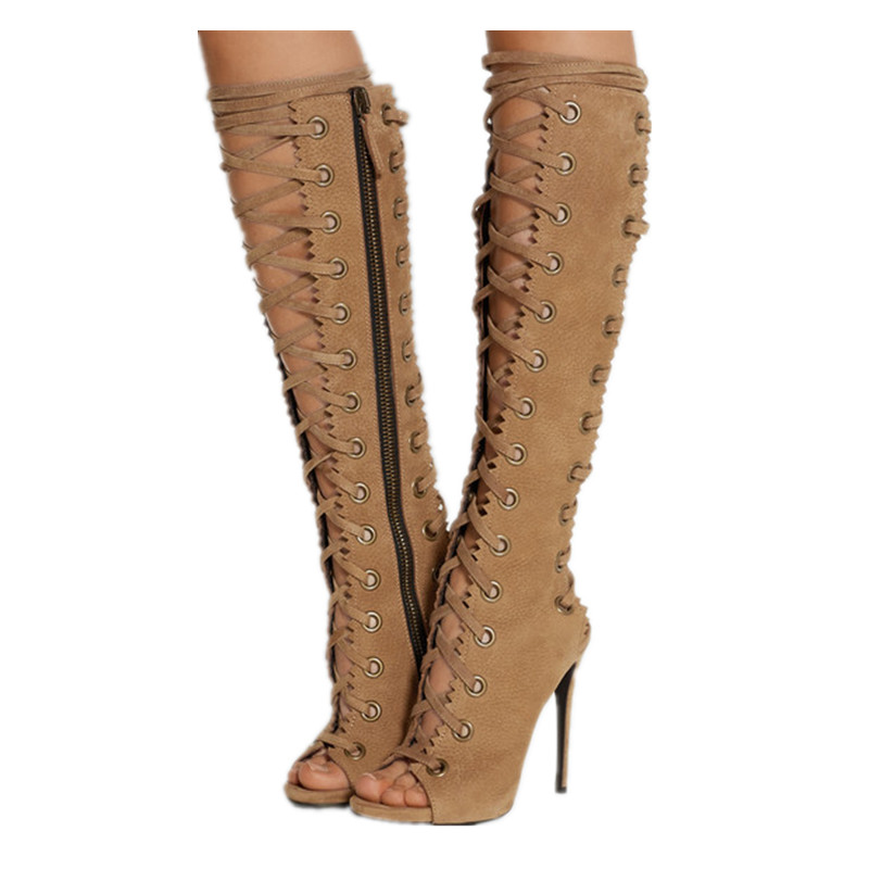 New Open Toe Cut Outs Women Boots Shoes Woman Lace Up Knee High Boots Gladiator Women Sandals Boots High Heels Shoes Botas Mujer sexy open toe cut outs high heels women gladiator sandals black leather lace up thigh high boots woman botas size 35 43