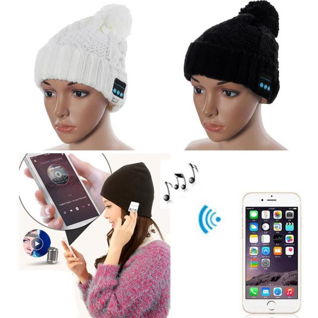 Super Deal Winter hats Wireless Bluetooth Beanie Hat Smart Cap Headset Headphone Speaker Mic For iPhone Knitted HYM20&08