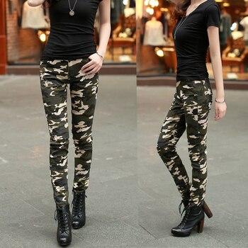 cintura camuflaje alta lápiz mujer pantalones mujeres algodón para ejército calidad moda mujeres Skinny pantalón pantalones 2016 carga SxCwBFqx7
